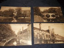 4 VINTAGE POSTCARD PANEL CARDS CAMBRIDGE SCENES UNPOSTED VALENTINES L'ART MODERN
